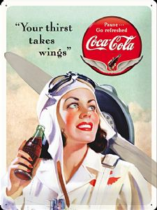 Coca Cola Your Thirst Takes Wings large embossed steel sign    (na 4030)